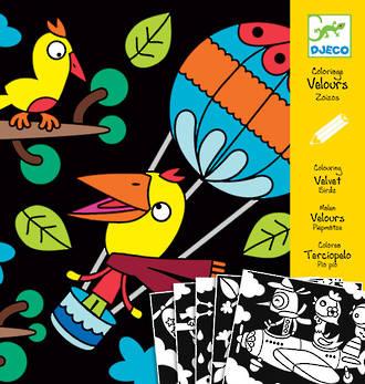 Djeco Colouring In Velvet Birds