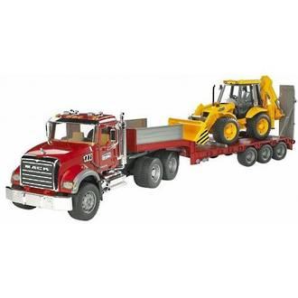 Bruder Mack Flatbed Truck with JCB Backhoe Loader