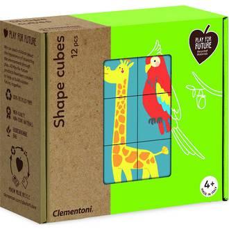 Clementoni Puzzle Shape Cubes - Animals (12pcs)