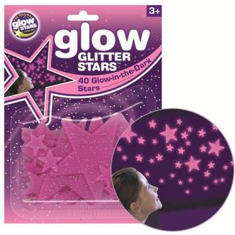 Cosmic Glow Glitter Stars, Pink