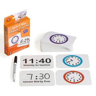 Write & Wipe Flashcards Time W/Marker