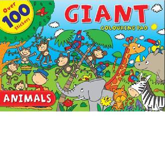 Giant Colouring Pad Animals with 100 stickers