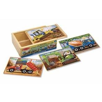 Melissa & Doug Wooden Jigsaw Puzzles 4 In A Box - Construction