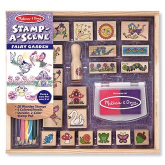 Melissa & Doug Stamp-A-Scene Fairy Garden Wooden Stamps