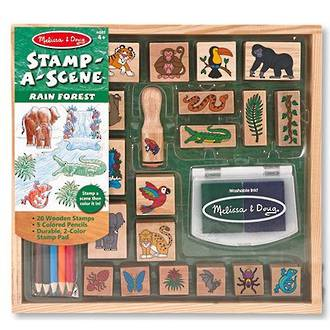 Melissa & Doug Stamp-A-Scene Rain Forest Wooden Stamps