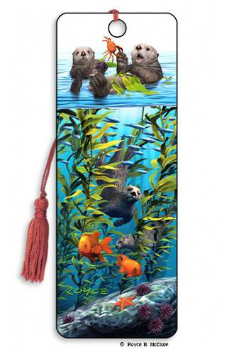 3D Bookmark - Sea Otters