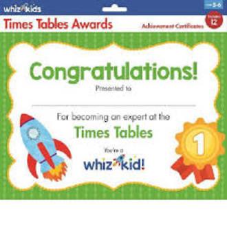 Whiz Kids Times Table Award