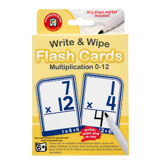Write & Wipe Flashcards Multiplication W/Marker