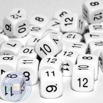6 Sided Dice Numbers 7 - 12