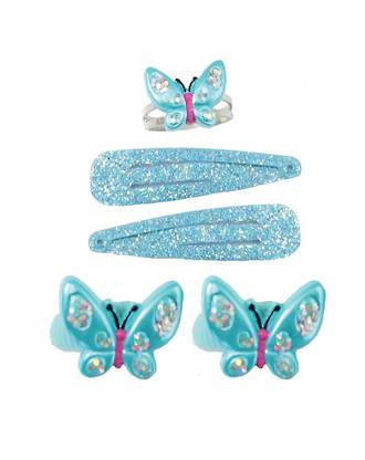 Butterfly ring, ponytail and hairclip set