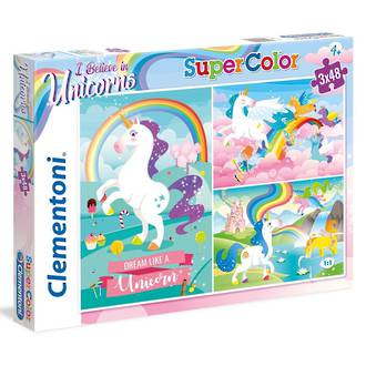 Clementoni I believe in Unicorns puzzles - 3x 48 piece puzzles