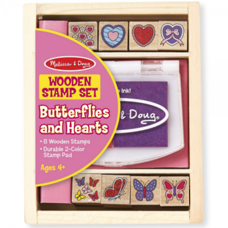 Melissa & Doug Butterflies and Hearts Wooden Stamps