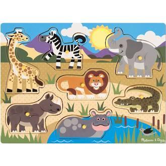 Melissa & Doug Wooden Peg Puzzles - Safari