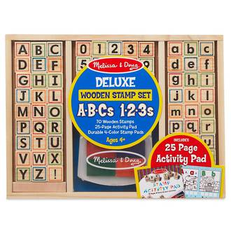 Melissa & Doug Wooden Stamps ABCs & 123s