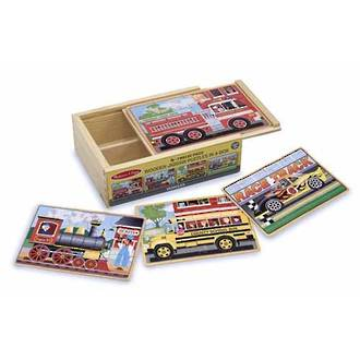 Melissa & Doug Wooden  Puzzles 4 In A Box - Vehicles
