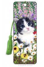 3D Bookmark - Kitten Flowerbed