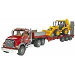 Bruder Mack Flatbed Truck with JCB Backhoe Loader