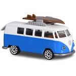 Majorette Vintage Cars VW T1 Surfboard White And Blue