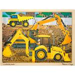 Melissa & Doug Wooden Jigsaw Puzzle - Diggers At Work 24 Piece
