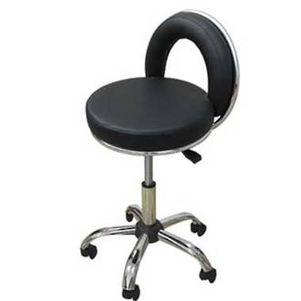 Beautician Chair With Backrest - Black