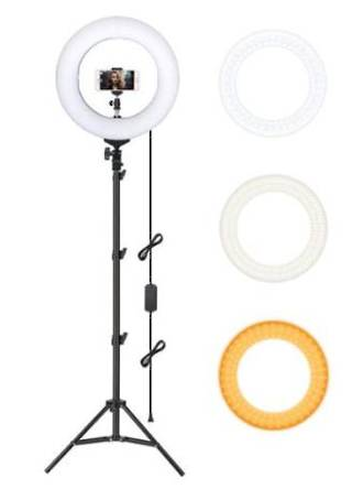 Dual Color Dimmable LED Ring Light with Carry Bag