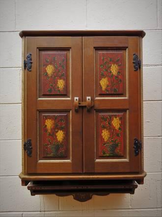 Vintage Bavarian Oak Hand Painted Kitchen or Bathroom Cabinet $750.00
