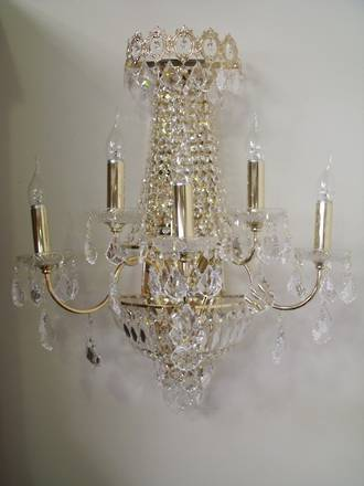 Crystal and Gold Plated Wall Sconce $1395.00 One only