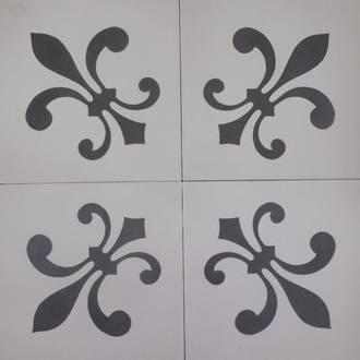 New Black Fleur de Lys on White Tile $7 each