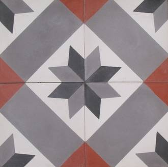 New Black and Grey Star with Red Square Tile $7 each