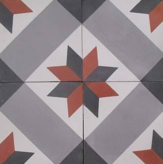 New Red and Black Star with Black Square Tile $7 each
