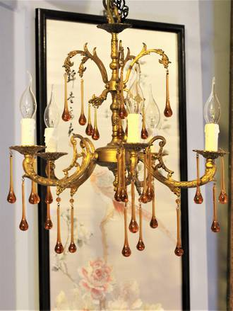 Amber Drop Vintage French Chandelier SOLD