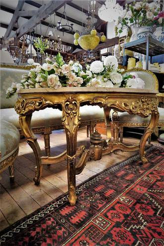 French Antique Large Marble Topped Rococo Style Center Table SOLD