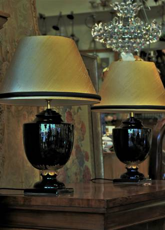 Empire Style Pair of Lamps, Gold & Black, Silk Shades SOLD
