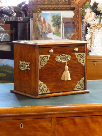 Exceptional Writing Box, Brass Bound with Concertinaed Drawer Compartments SOLD