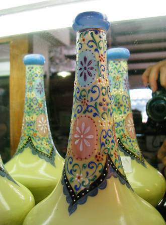 Pair of Early Glass hand painted Enamel Vases sold