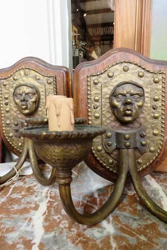 Jacobean Figurative Cast Brass Wall Brackets SOLD