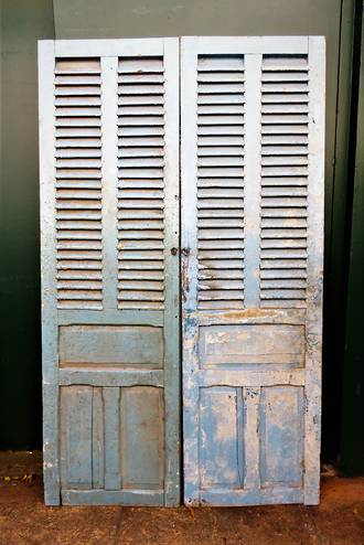 Large Light Blue French Antique Shutters - Doors $950.00 pair