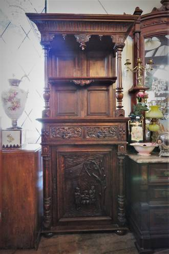 Jacobean Hall Stand with Greenman  & Figural Carvings $2250