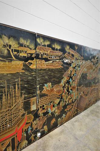 Huge Lacquered Chinese Wall Panels depicting Zhang Zeduan $4995