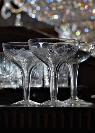 Vintage Hollow Stem Champagne Glasses Set of 6 SOLD