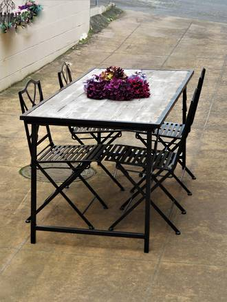 Large Iron & Recycled Wood Planked Collapsible Cafe Table & 4  Chairs SOLD
