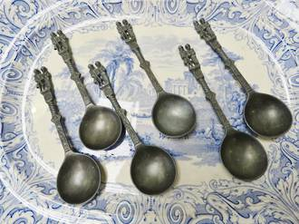 Antique Pewter European Wedding Spoons