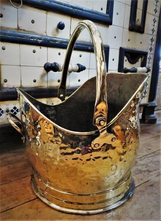 Antique Brass Helmet Shaped Coal Scuttle SOLD