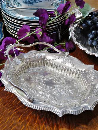 Generously Embossed Victorian Footed Bread Basket