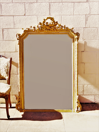 Large French Antique Carved & Gilded Mirror SOLD