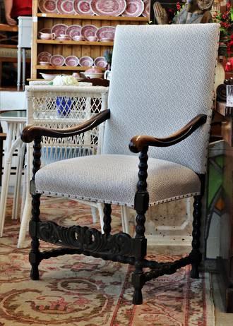 Huge Jacobean Oak  Upholstered Carver Chair