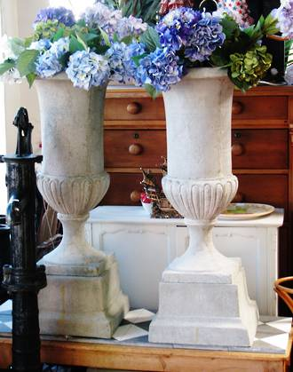 Pair of Large Concrete/fiberglass Urns on Plinths SOLD