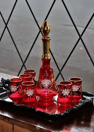 Venetian Hand-Blown Ruby Glass Decanter Set
