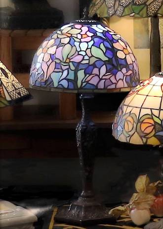 Tall Blue Tiffany Style lead-lite table Lamp