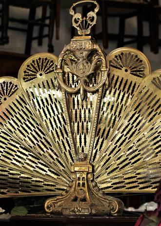 Victorian Brass Folding Peacock Fan Fire Screen $650.00